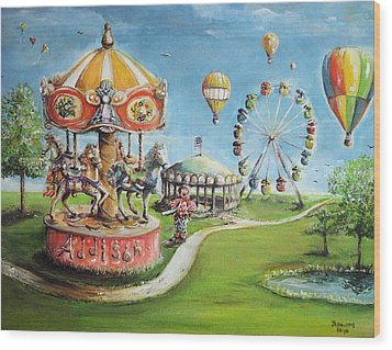 Wood Print featuring the painting Carnival by Bernadette Krupa