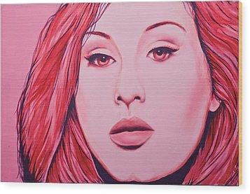 Adele Wood Print by Derek Donnelly