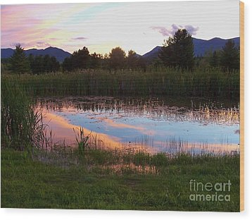 Adirondack Reflection 1 Wood Print by Peggy Miller