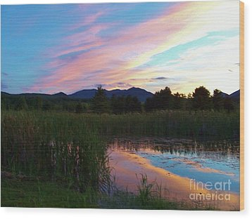 Adirondack Reflections 2 Wood Print by Peggy Miller
