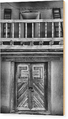 Adobe Church Door And Balcony Wood Print by Steven Ainsworth