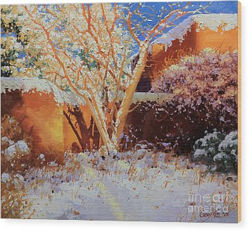 Adobe Wall With Tree In Snow Wood Print by Gary Kim