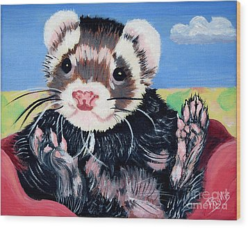 Adorable Ferret Wood Print by Phyllis Kaltenbach