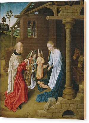 Adoration Of The Christ Child  Wood Print by Master of San Ildefonso