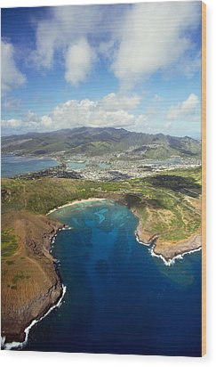 Aerial Of Hanauma Bay Wood Print by Ron Dahlquist - Printscapes