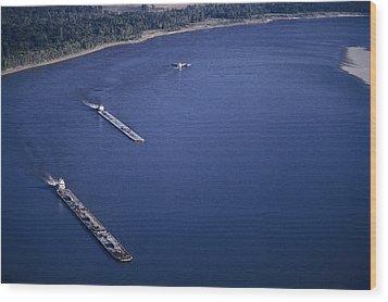 Aerial Of Mississippi River Wood Print by Kenneth Garrett