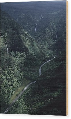 Aerial Of Olekole Canyon Wood Print by Ira Block