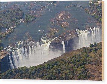 Aerial Of Victoria Falls, Zambia, Africa Wood Print by Yvette Cardozo