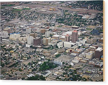 Aerial View Of Albuquerque Wood Print by Lawrence Burry