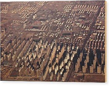 Aerial View Of Beijing Suburb, Tongzhou Distr Wood Print by Jialiang Gao
