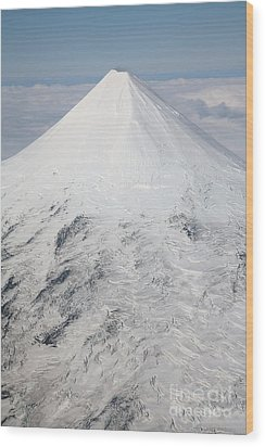 Aerial View Of Glaciated Shishaldin Wood Print by Richard Roscoe