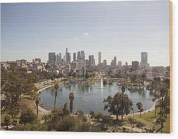 Aerial View Of Lake In Urban Park Wood Print by Cultura Travel/Zak Kendal