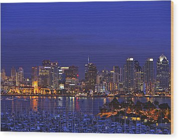 Aerial View Of San Diego Skyline With Wood Print by Stuart Westmorland