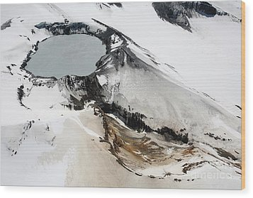 Aerial View Of Snow-covered Ruapehu Wood Print by Richard Roscoe