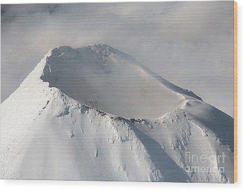 Aerial View Of Summit Of Shishaldin Wood Print by Richard Roscoe