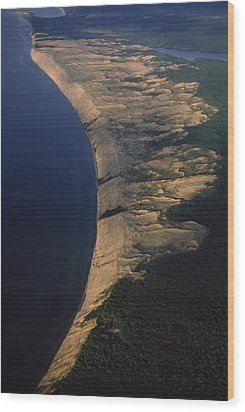 Aerial View Of The Grand Sable Dunes Wood Print by Phil Schermeister