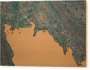 Aerial View Of Uncultivated Landscape Wood Print by Tobias Titz