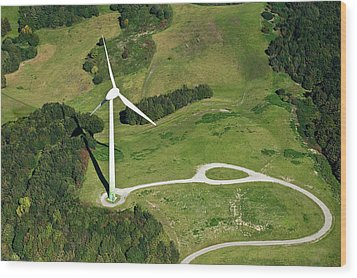 Aerial View Of Wind Turbine Wood Print by Daniel Reiter