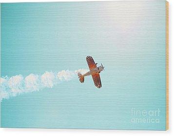 Aerobatic Biplane Inverted Wood Print by Kim Fearheiley