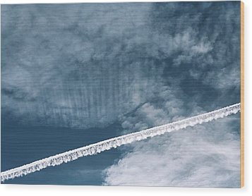 Aeroplane Contrail Wood Print by Laurent Laveder