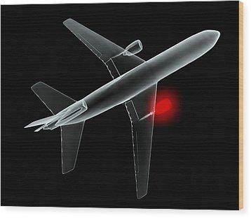 Aeroplane, Simulated X-ray Artwork Wood Print by Christian Darkin
