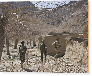 Afghan Commandos Are Guided Wood Print by Stocktrek Images