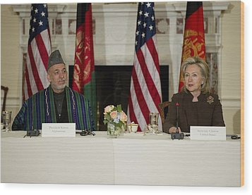Afghan President Hamid Karzai And Sec Wood Print by Everett