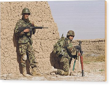 Afghan Soldiers Conduct A Dismounted Wood Print by Stocktrek Images