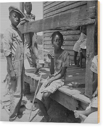 African American Farm Children Wood Print by Everett
