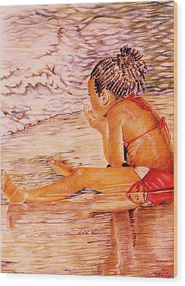 African American Girl On The Beach Wood Print by Candace  Hardy