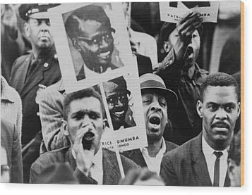 African American Men At A Black Muslim Wood Print by Everett