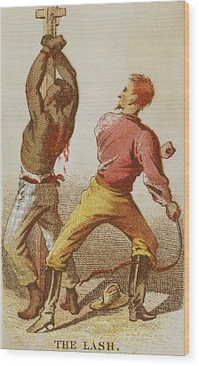 African American Slave Being Whipped Wood Print by Everett