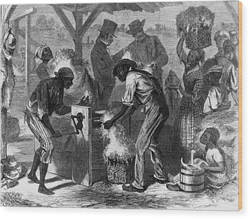 African American Slaves Using A Cotton Wood Print by Everett