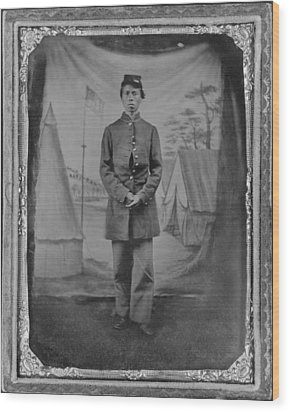 African American Soldier Posed In Front Wood Print by Everett