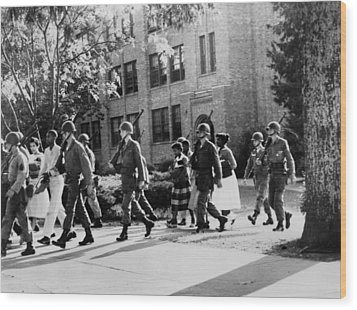 African-american Students Leaving Wood Print by Everett