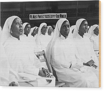 African American Women Dressed In White Wood Print by Everett