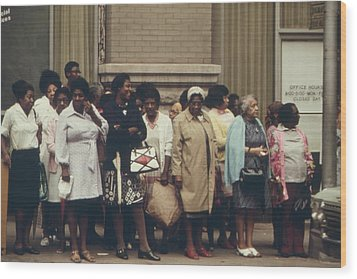 African Americans Mostly Women Waiting Wood Print by Everett