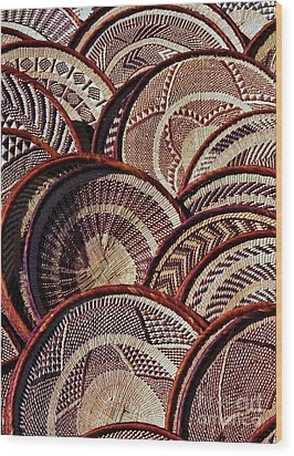 Wood Print featuring the photograph African Art Baskets by Werner Lehmann