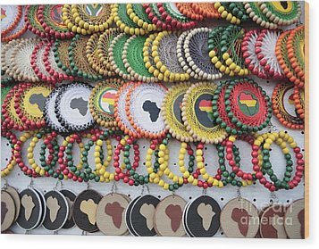 African Beaded Earrings Wood Print by Neil Overy