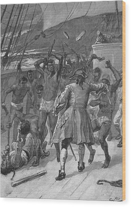 African Captives Fight Against A 18th Wood Print by Everett