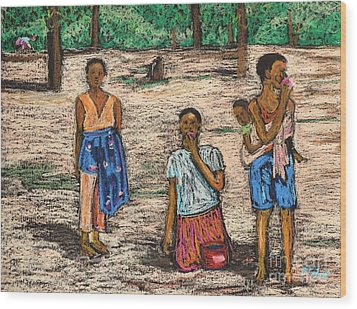 African Children Wood Print by Reb Frost