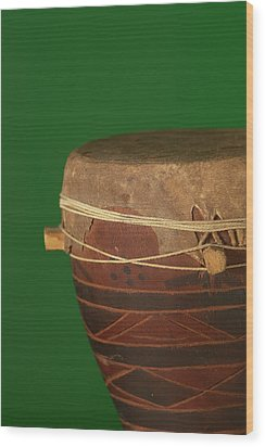 African Drum On Green Backgound Wood Print by Philip Haynes