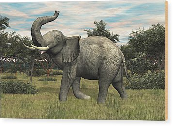 Wood Print featuring the digital art African Elephant by Walter Colvin