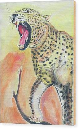 African Leopard Wood Print by Emmanuel Baliyanga