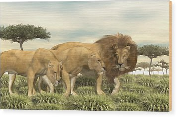 Wood Print featuring the painting African Lion Pride by Walter Colvin