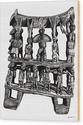 African Tribal Seat  Wood Print by Adendorff Design