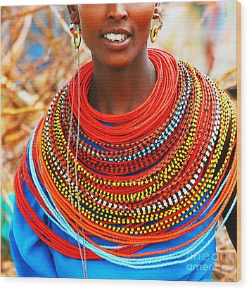 African Woman With Traditional Accessories Wood Print by Anna Om