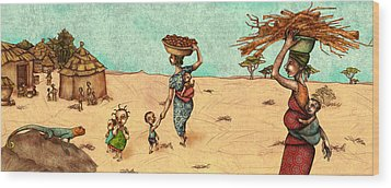 Africans Wood Print by Autogiro Illustration