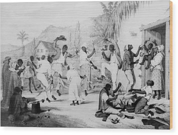 Afro-caribbean Slaves Dancing Wood Print by Everett