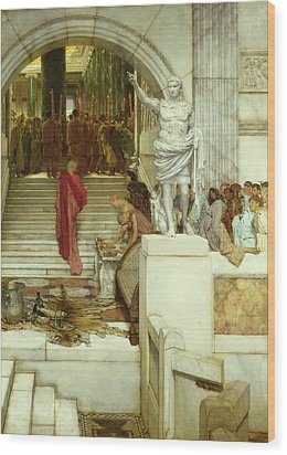 After The Audience Wood Print by Sir Lawrence Alma-Tadema